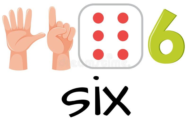 Αριθμός έξι με τις εικόνες διανυσματική απεικόνιση