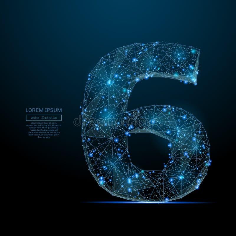 Αριθμός έξι χαμηλό πολυ μπλε ελεύθερη απεικόνιση δικαιώματος