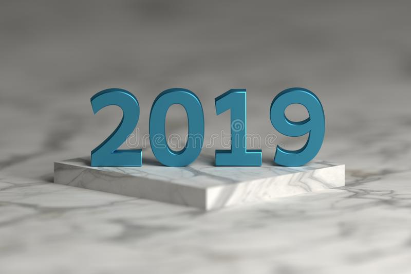Αριθμός έτους του 2019 στη λαμπρή μεταλλική μπλε σύσταση πέρα από την εξέδρα βάθρων διανυσματική απεικόνιση