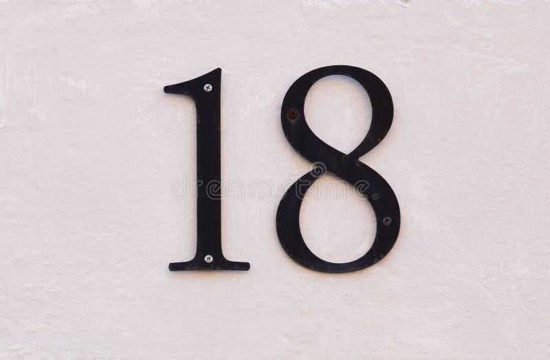 Αριθμός δεκαοχτώ στοκ εικόνες