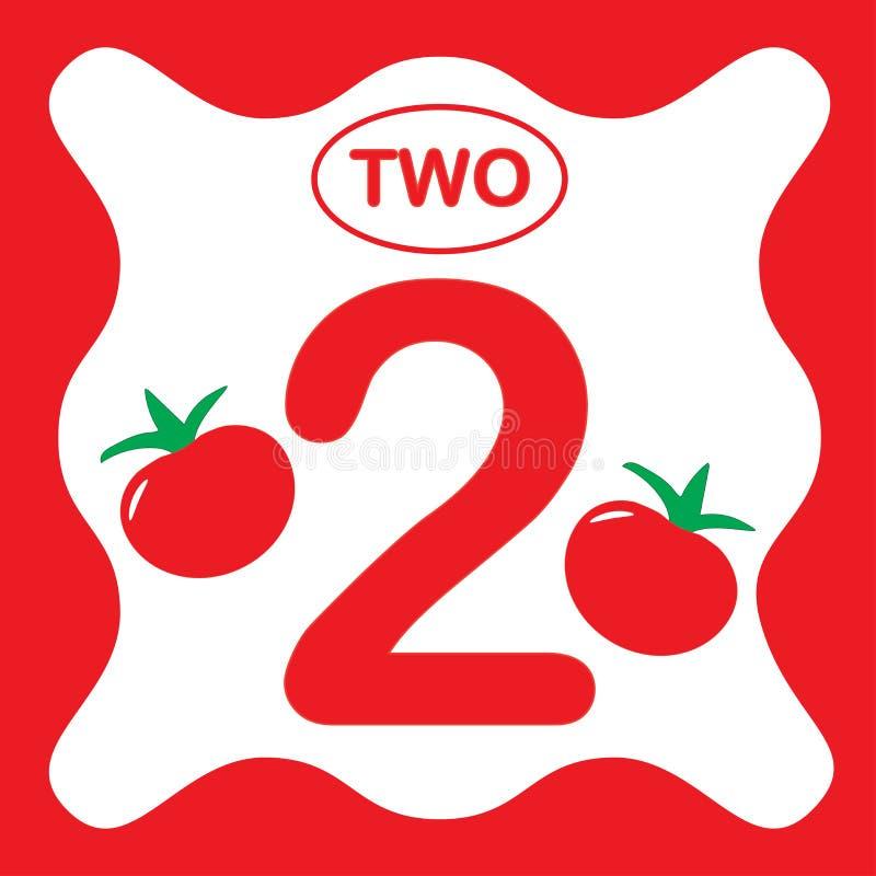 Αριθμός 2 δύο, εκπαιδευτική κάρτα, υπολογισμός εκμάθησης ελεύθερη απεικόνιση δικαιώματος