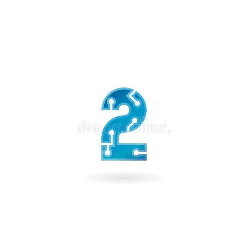 Αριθμός 2 εικονίδιο Έξυπνο λογότυπο δύο τεχνολογίας, υπολογιστής και σχετική με τα στοιχεία επιχείρηση, υψηλή τεχνολογία και καιν διανυσματική απεικόνιση