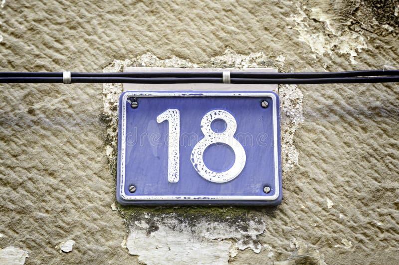 Αριθμός δεκαοχτώ στοκ φωτογραφία με δικαίωμα ελεύθερης χρήσης