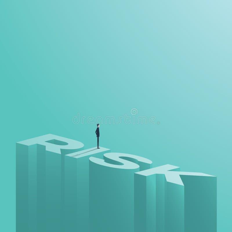 Αριθμός επιχειρηματιών που στέκεται σε έναν κίνδυνο λέξης στο μεγάλο ύψος Διανυσματικό σύμβολο αξιολόγησης του επιχειρησιακού κιν διανυσματική απεικόνιση