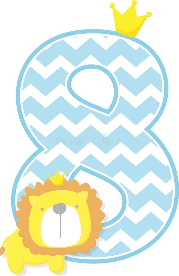 Αριθμός 8 με το χαριτωμένους βασιλιά λιονταριών και το σχέδιο σιριτιών διανυσματική απεικόνιση