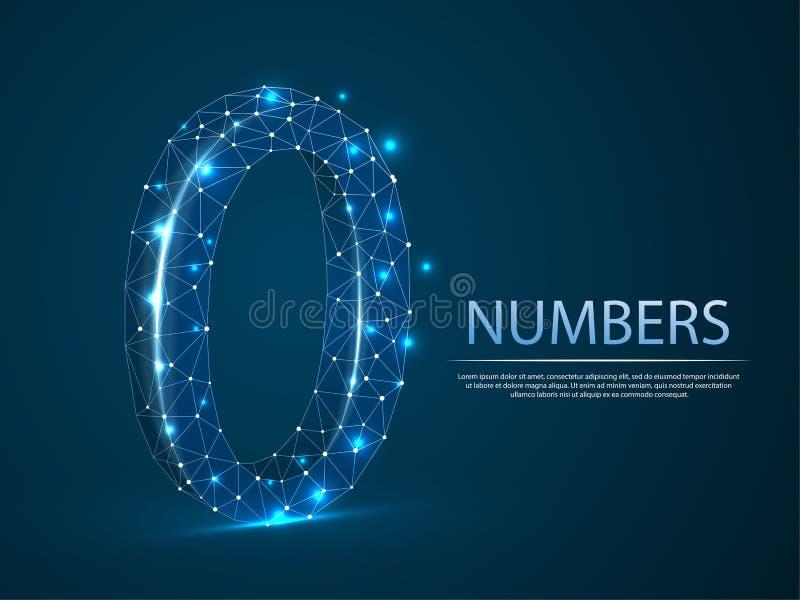 Αριθμός μηδενικά τρισδιάστατη χαμηλή πολυ αφηρημένη απεικόνιση Διανυσματικό ψηφίο 0 έννοια wireframe διανυσματική απεικόνιση