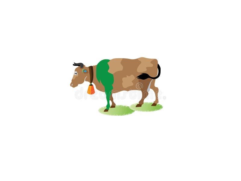 Αριθμός μιας αγελάδας με τα κέρατα που στέκονται στο έδαφος - έμβλημα καλλιέργειας, σχέδιο λογότυπων, απεικόνιση - διάνυσμα ελεύθερη απεικόνιση δικαιώματος
