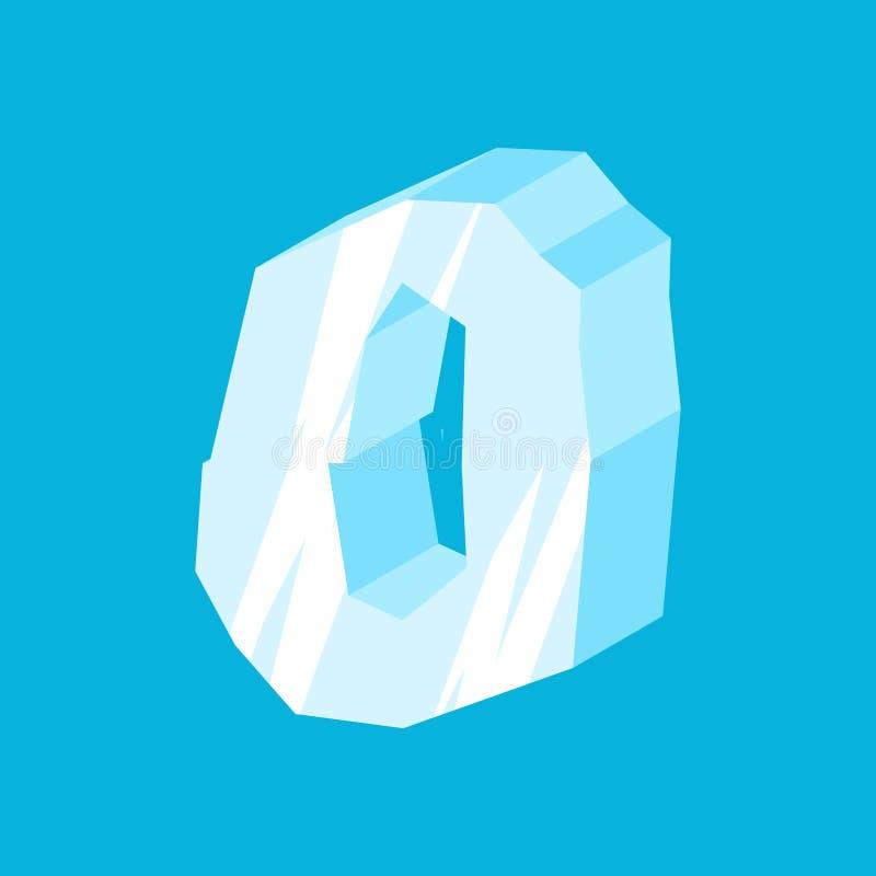 Αριθμός 0 πάγος Πηγή μηδέν παγακιών Παγωμένο σύμβολο αλφάβητου Παγόβουνο ελεύθερη απεικόνιση δικαιώματος