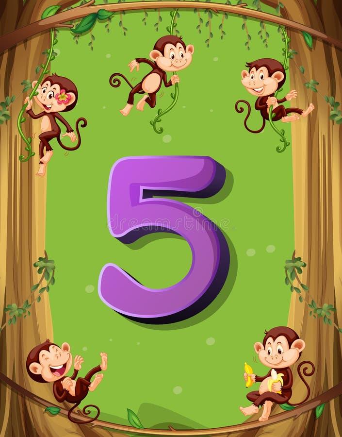 Αριθμός πέντε με 5 πιθήκους στο δέντρο ελεύθερη απεικόνιση δικαιώματος