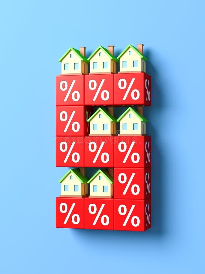 Αριθμός πέντε με τα μικροσκοπικά σπίτια και τους κόκκινους φραγμούς ποσοστού απεικόνιση αποθεμάτων