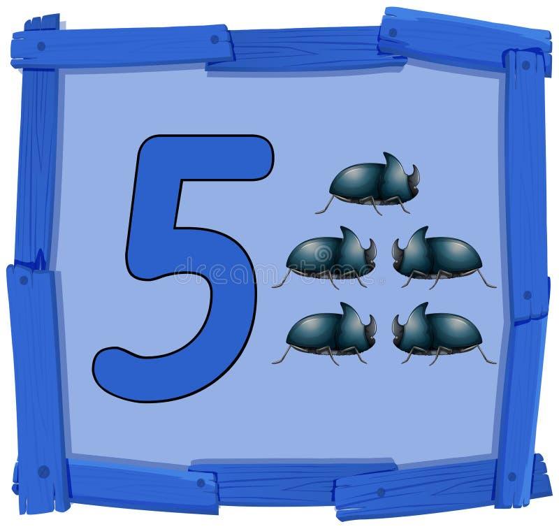 Αριθμός πέντε στο ξύλινο έμβλημα διανυσματική απεικόνιση