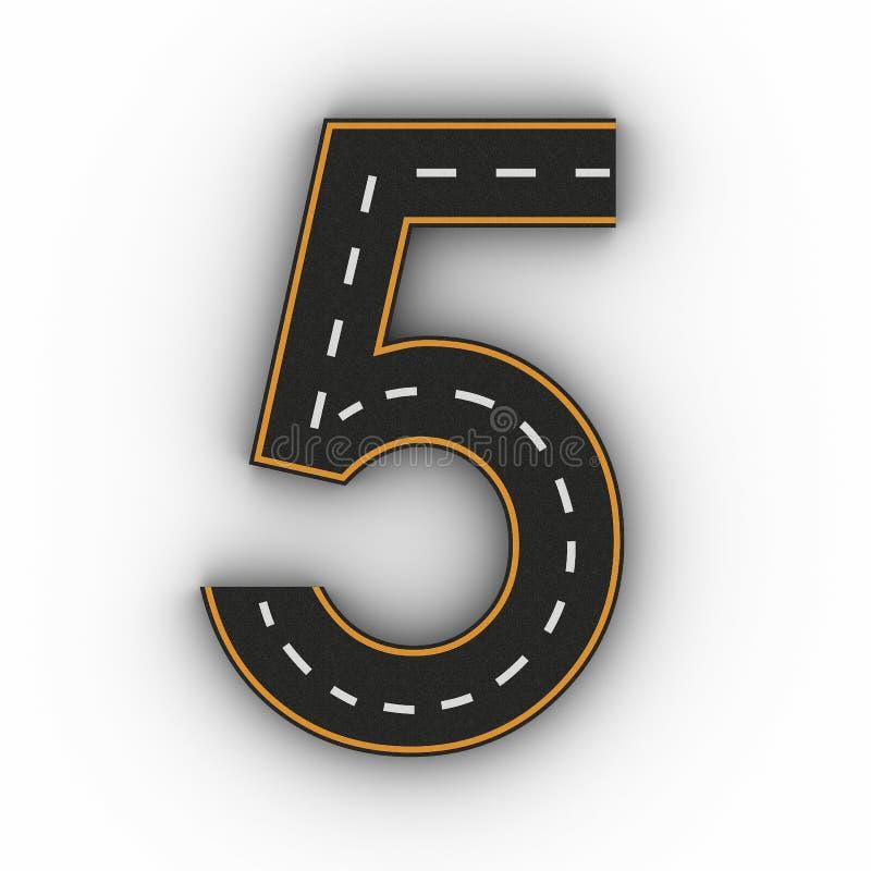 Αριθμός πέντε σύμβολα των αριθμών υπό μορφή δρόμου με την άσπρη και κίτρινη τρισδιάστατη απόδοση σημαδιών γραμμών ελεύθερη απεικόνιση δικαιώματος