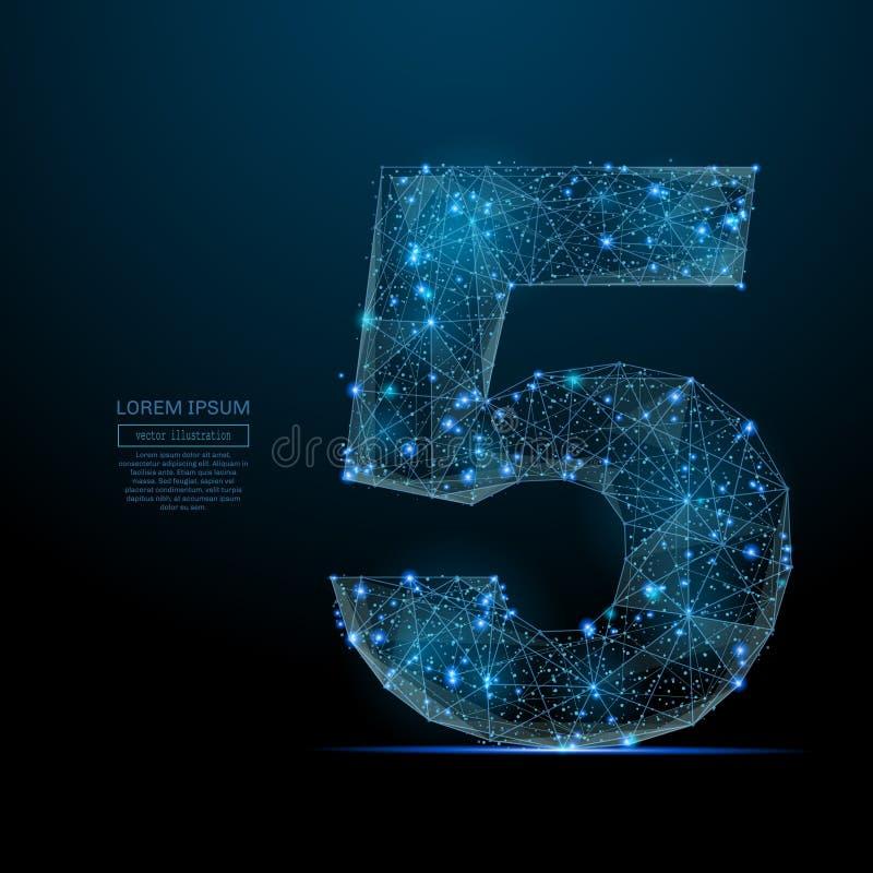 Αριθμός πέντε χαμηλό πολυ μπλε διανυσματική απεικόνιση