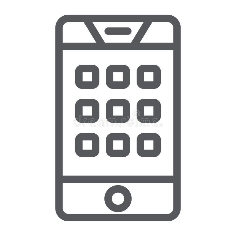 Αριθμός πινάκων στο εικονίδιο τηλεφωνικών γραμμών, κινητός και κλήση, αριθμητικό πληκτρολόγιο στο σημάδι smartphone, διανυσματική απεικόνιση αποθεμάτων