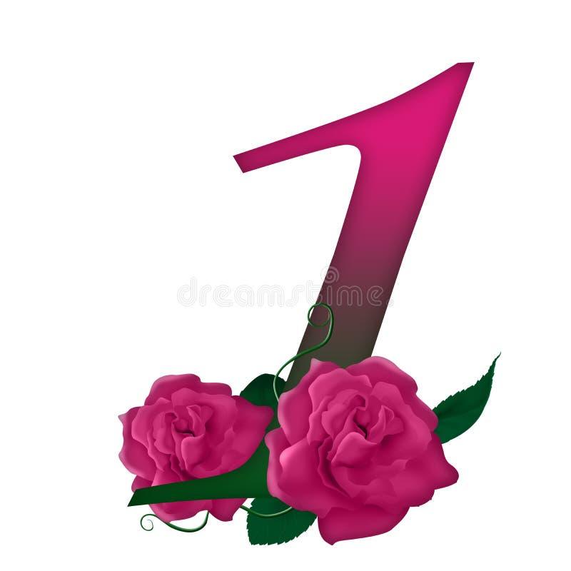 Αριθμός 1 ρόδινος floral ελεύθερη απεικόνιση δικαιώματος