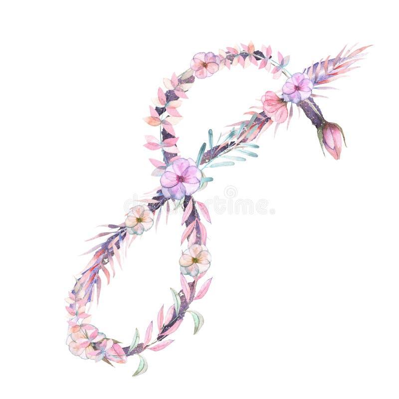 Αριθμός `` 8 `` ρόδινων και πορφυρών λουλουδιών watercolor, απομονωμένο χέρι που επισύρεται την προσοχή σε ένα άσπρο υπόβαθρο ελεύθερη απεικόνιση δικαιώματος