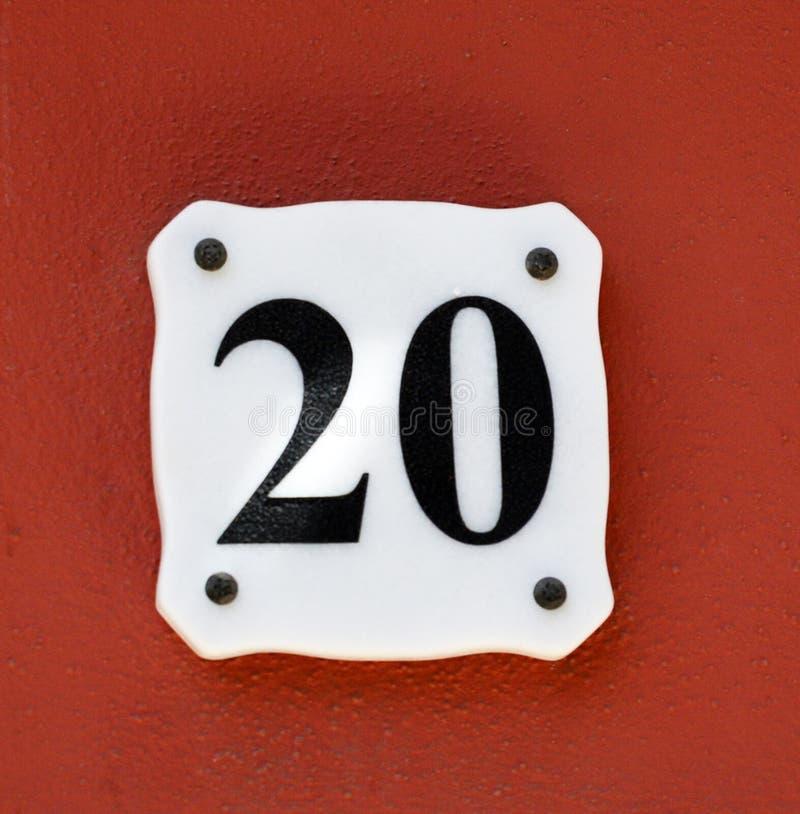 Αριθμός 20 στον τοίχο σπιτιών στοκ εικόνες