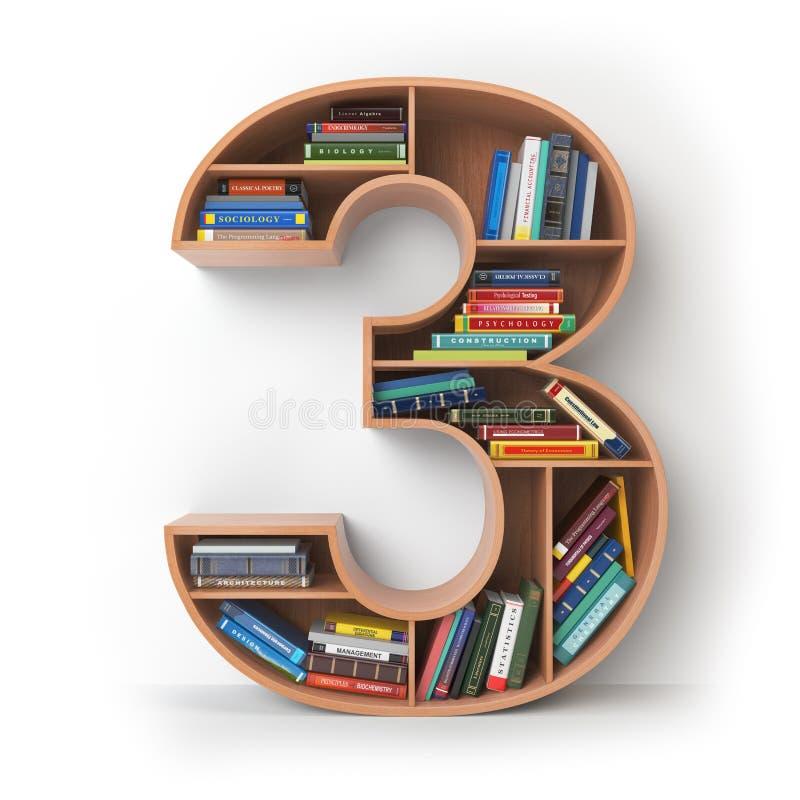 Αριθμός 3 τρία Αλφάβητο υπό μορφή ραφιών με το isola βιβλίων ελεύθερη απεικόνιση δικαιώματος