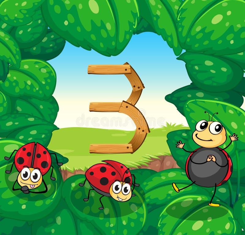 Αριθμός τρία με το χαμόγελο τριών ladybugs απεικόνιση αποθεμάτων