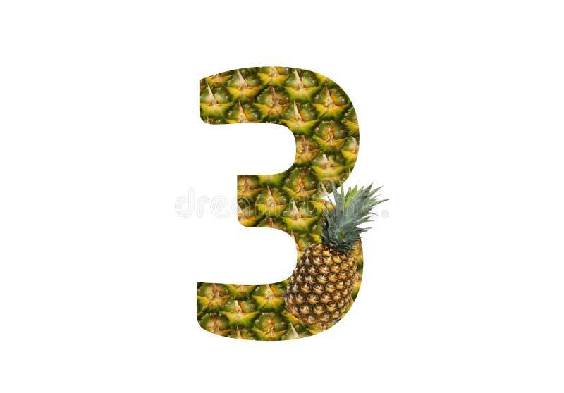 Αριθμός 3 τρία που γίνονται από τον ανανά σε ένα άσπρο υπόβαθρο Τροπικά θερινά τρόφιμα διατροφής ανανά φρούτων διανυσματική απεικόνιση