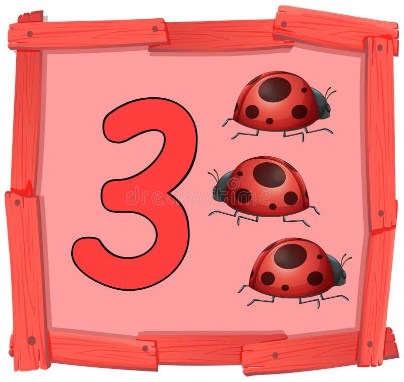 Αριθμός τρία στο ξύλινο έμβλημα διανυσματική απεικόνιση