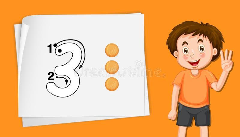 Αριθμός τρία στο πορτοκαλί πρότυπο ελεύθερη απεικόνιση δικαιώματος