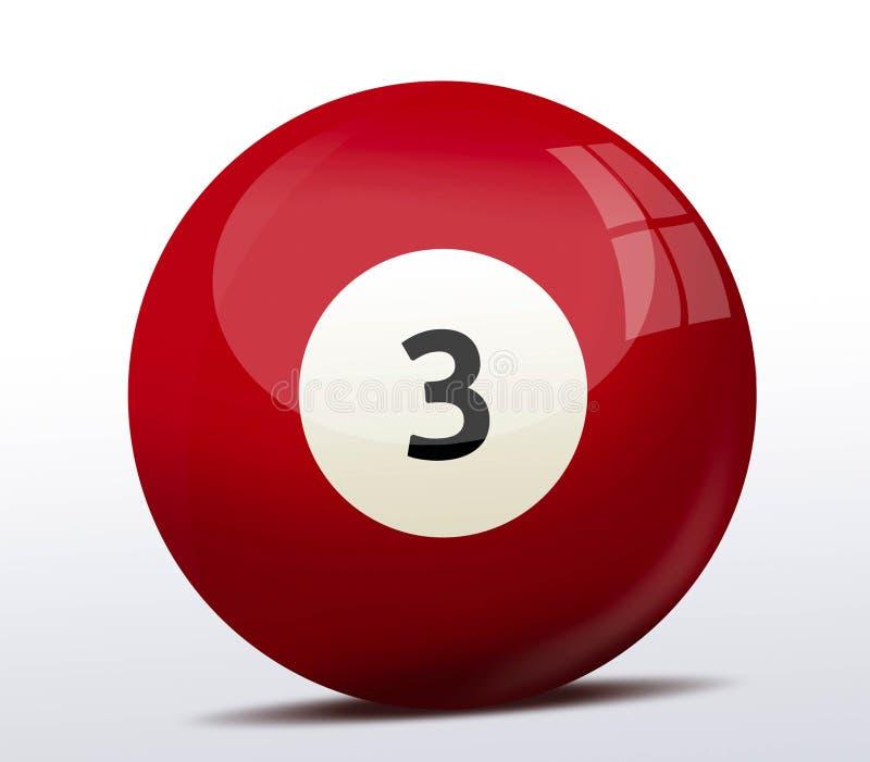 Αριθμός τρία σφαίρα μπιλιάρδου διανυσματική απεικόνιση