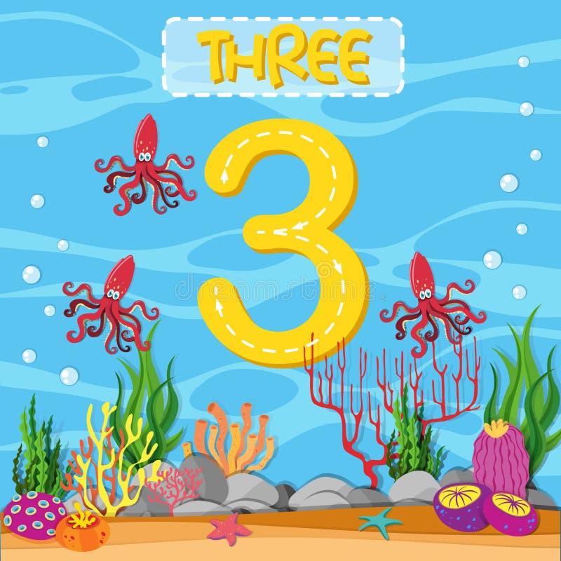 Αριθμός τρία υποβρύχιο θέμα απεικόνιση αποθεμάτων