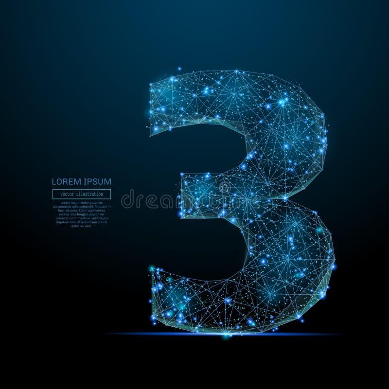 Αριθμός τρία χαμηλό πολυ μπλε διανυσματική απεικόνιση