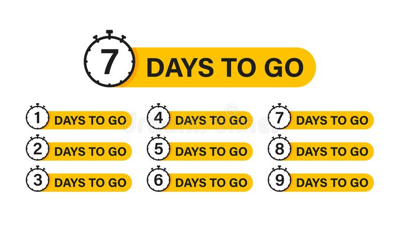 Αριθμός 1, 2, 3, 4, 5, 6, 7, 8, 9, 10, των ημερών που αφήνονται για να πάνε Πώληση διακριτικών συλλογής, προσγειωμένος σελίδα, έμ διανυσματική απεικόνιση