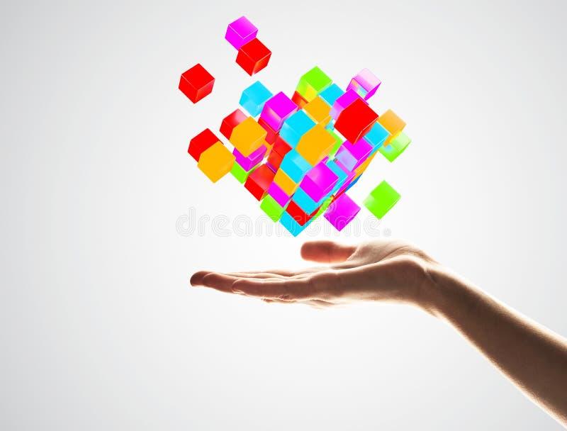 Αριθμός χρώματος κύβων στον αρσενικό φοίνικα ως σύμβολο για την ολοκλήρωση τρισδιάστατη απόδοση στοκ εικόνα