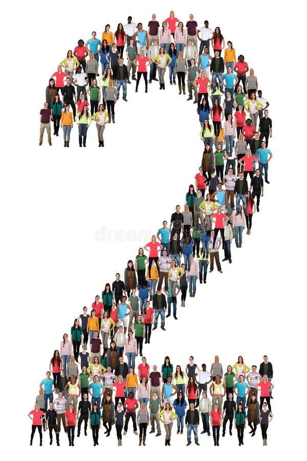 Αριθμός δύο 2 ομάδα ανθρώπων ελεύθερη απεικόνιση δικαιώματος