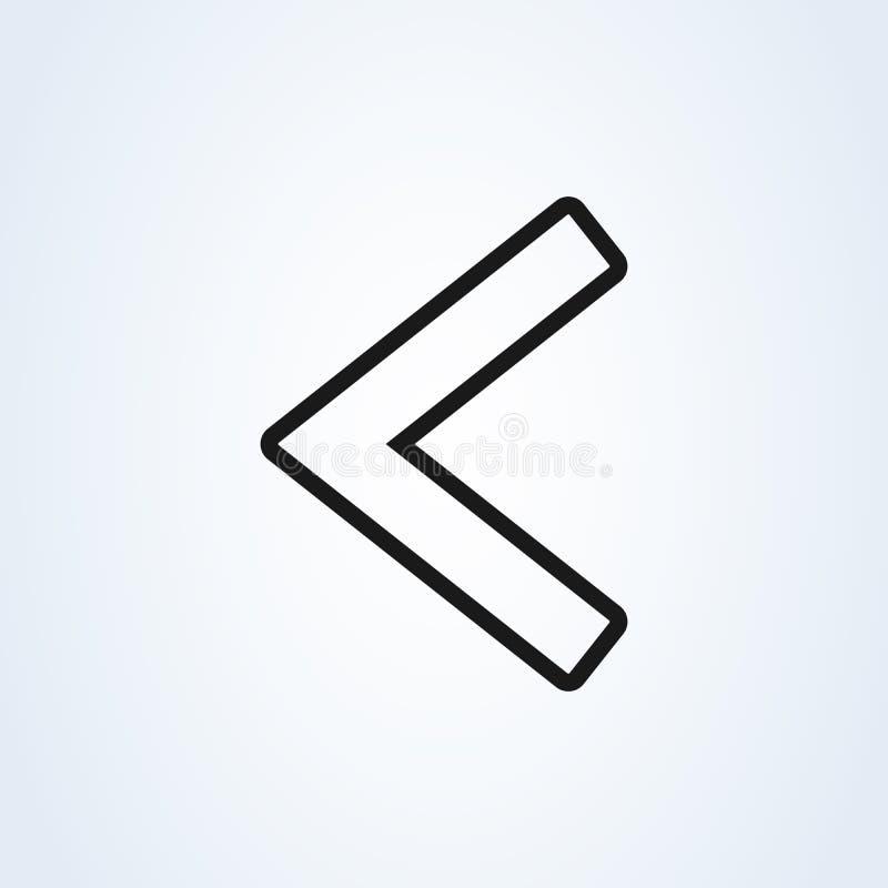 Αριστερή τέχνη γραμμών ύφους βελών επίπεδη εικονίδιο που απομονώνεται στο άσπρο υπόβαθρο r διανυσματική απεικόνιση