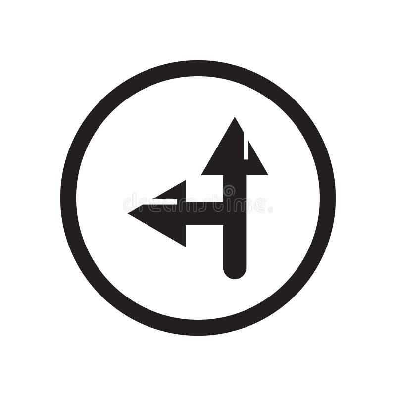 Αριστερών πλευρών σημάδι και σύμβολο οδικών εικονιδίων διανυσματικό που απομονώνονται στο άσπρο υπόβαθρο, έννοια οδικών λογότυπων διανυσματική απεικόνιση
