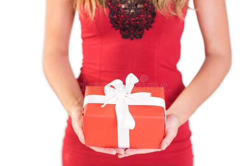 Αριστοκρατική γυναίκα που κρατά ένα δώρο στοκ εικόνα με δικαίωμα ελεύθερης χρήσης