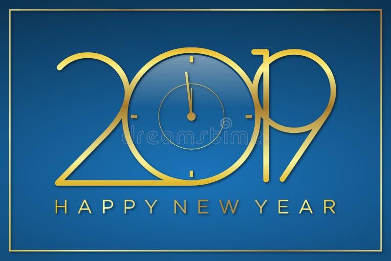Αριστοκρατικός διανυσματικός χρόνος σχεδίου του νέου υποβάθρου έτους με το χρυσό χρώματος απεικόνιση αποθεμάτων