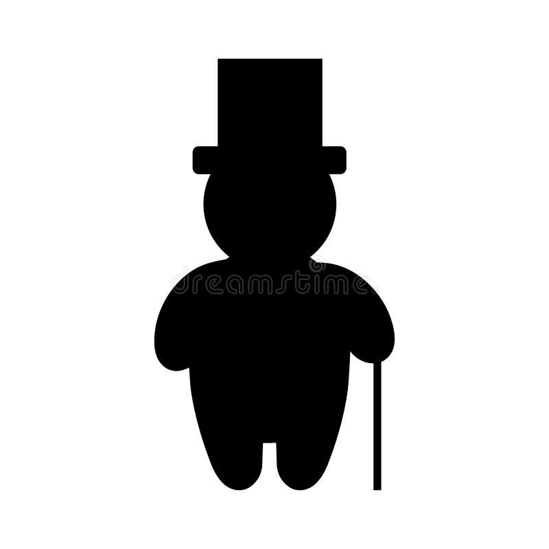 Αριστοκρατικός κύριος με το καπέλο κυλίνδρων και το ραβδί περπατήματος διανυσματική απεικόνιση