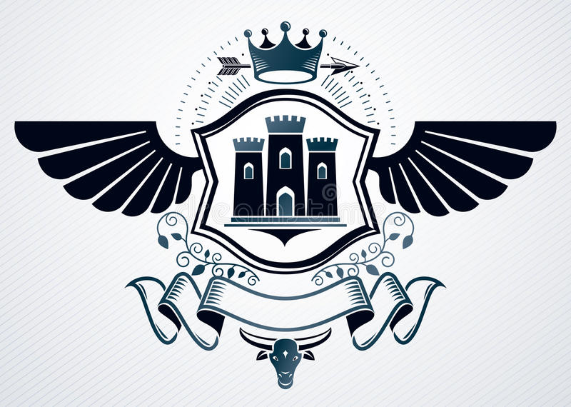 Αριστοκρατικό έμβλημα που γίνεται με τη διακόσμηση φτερών αετών, μεσαιωνικό κάστρο διανυσματική απεικόνιση