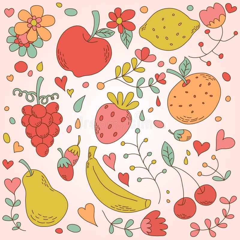 Αρκετά εκλεκτής ποιότητας σύνολο φρούτων διανυσματική απεικόνιση
