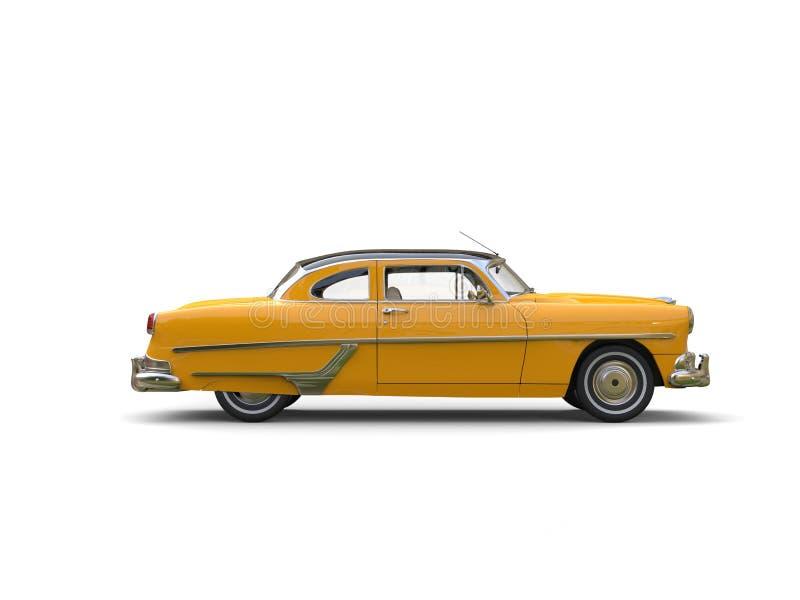 Αρκετά κίτρινο εκλεκτής ποιότητας αυτοκίνητο - πλάγια όψη διανυσματική απεικόνιση