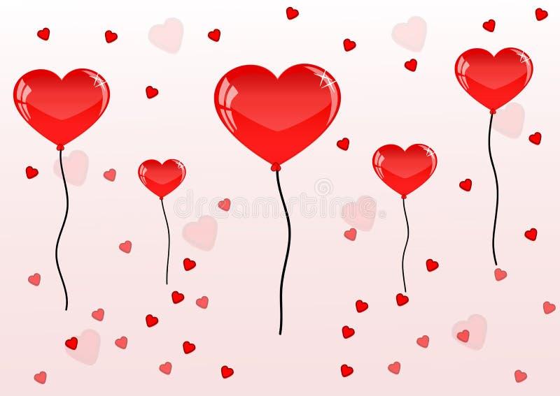 Αρκετά κόκκινα ballons και καρδιά για την ημέρα βαλεντίνων διανυσματική απεικόνιση