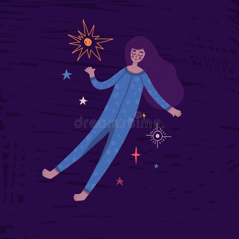 Αρκετά μαύρο κορίτσι που επιπλέει στο διάστημα Χαριτωμένη hand-drawn απεικόνιση με τη γυναίκα ύπνου στις πυτζάμες και τα αστέρια  στοκ εικόνες