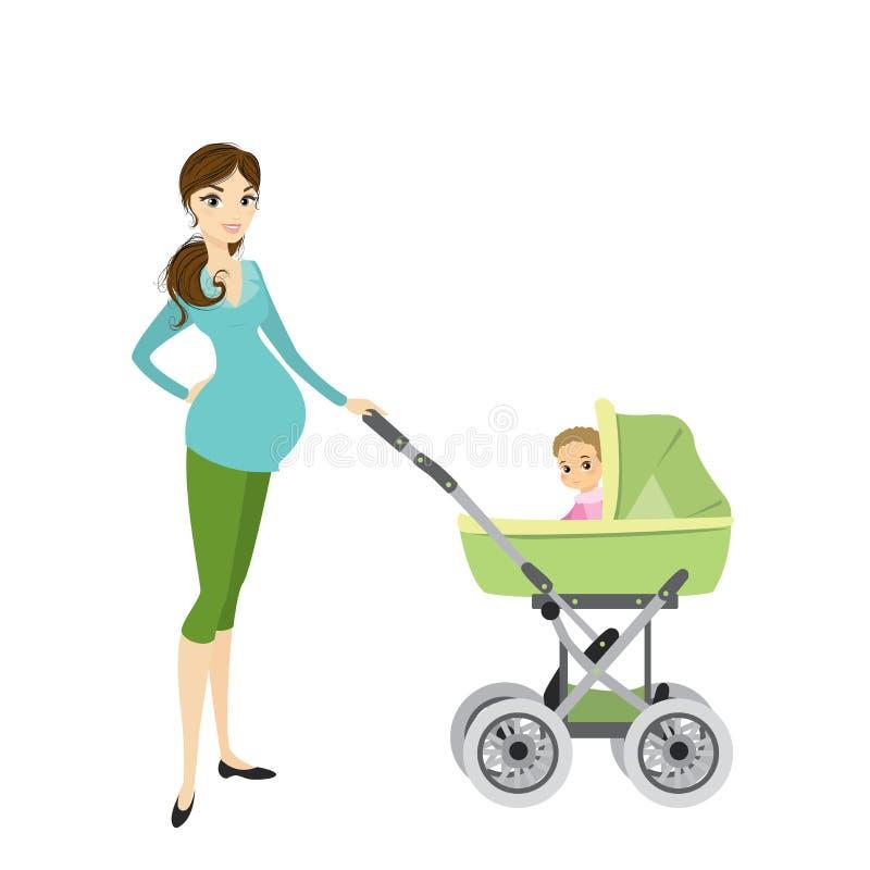 Αρκετά νέα έγκυος γυναίκα με ένα καροτσάκι και μωρό διανυσματική απεικόνιση