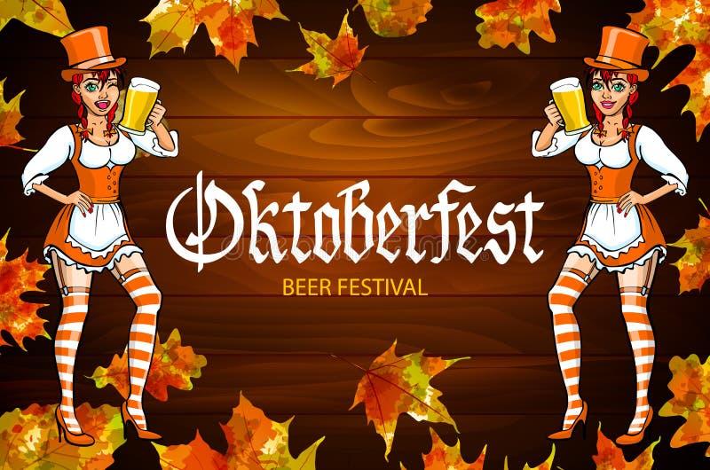 Αρκετά νέα γερμανική πιό oktoberfest κόκκινη γυναίκα σε ένα φόρεμα dirndl με το διάνυσμα μπύρας απεικόνιση αποθεμάτων