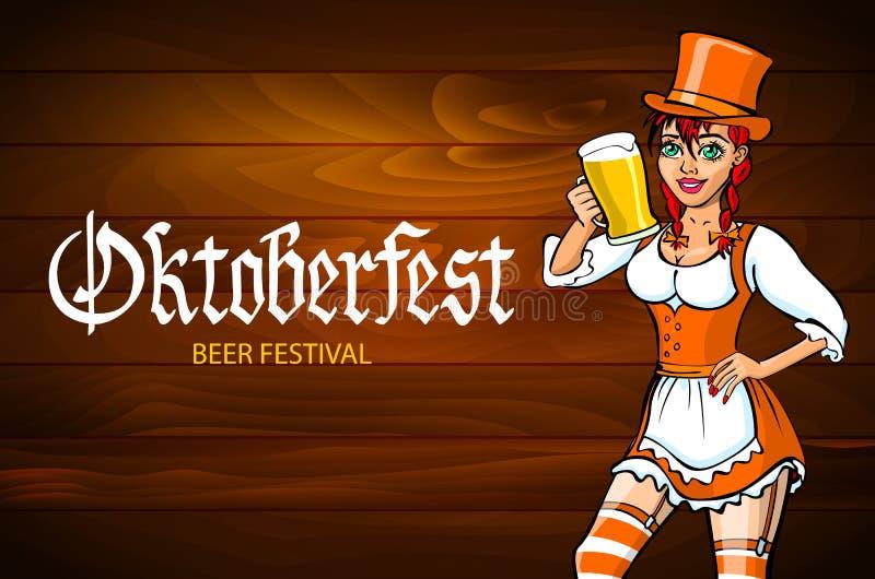 Αρκετά νέα γερμανική πιό oktoberfest κόκκινη γυναίκα σε ένα φόρεμα dirndl με το διάνυσμα μπύρας διανυσματική απεικόνιση