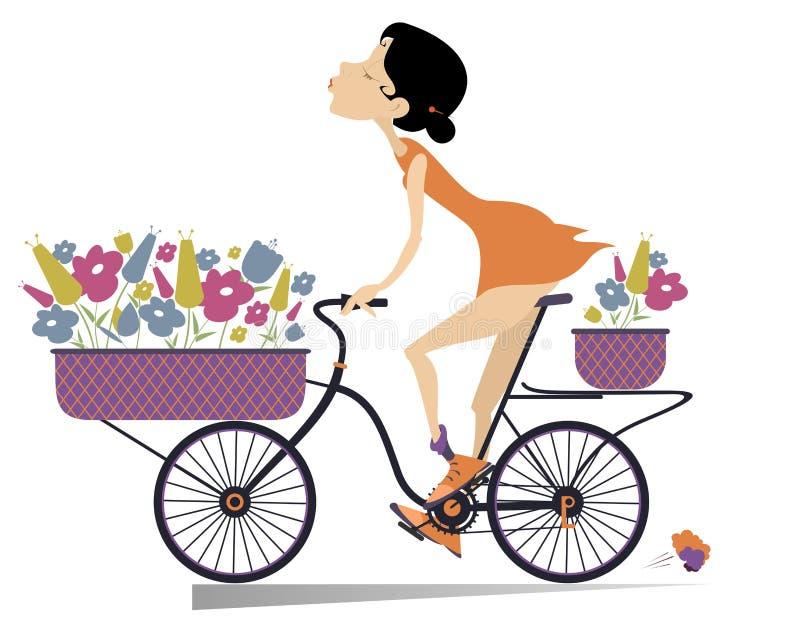 Αρκετά νέα γυναίκα, ένα ποδήλατο και ανθοδέσμες των λουλουδιών που απομονώνονται διανυσματική απεικόνιση