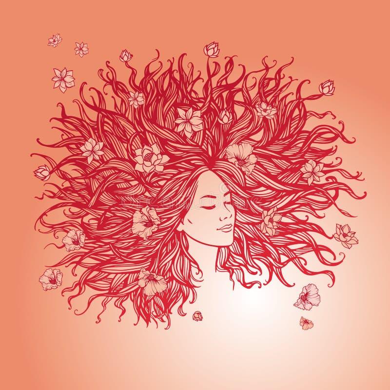 Αρκετά νέα γυναίκα με τη μακριά όμορφη τρίχα τρίχωμα λουλουδιών διανυσματική απεικόνιση