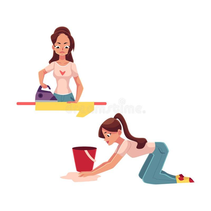 Αρκετά νέα γυναίκα, νοικοκυρά που κάνει τα οικιακά - σιδέρωμα, που πλένει το πάτωμα διανυσματική απεικόνιση