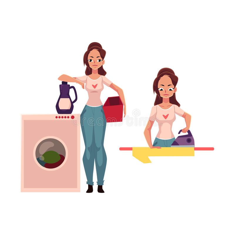Αρκετά νέα γυναίκα, νοικοκυρά που κάνει τα οικιακά - σιδέρωμα, που πλένει το πάτωμα ελεύθερη απεικόνιση δικαιώματος