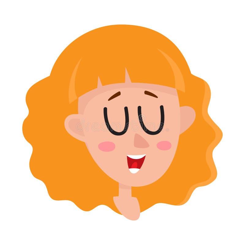 Αρκετά ξανθή γυναίκα τρίχας, έκφραση του προσώπου γέλιου ελεύθερη απεικόνιση δικαιώματος